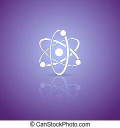 Atom icon - White vector atom icon on violet gradient...