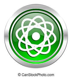 atom icon, green button