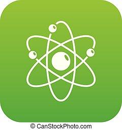 Atom icon green vector