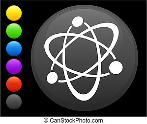 atom icon on round internet button