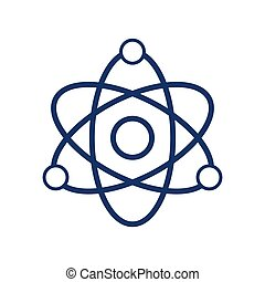 Atom icon on white background, vector illustration