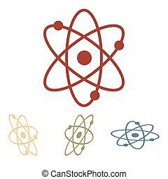 Atom icon. Vector illustration set. Isometric effect