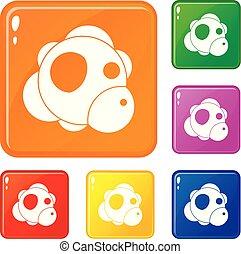 Atom icons set vector color