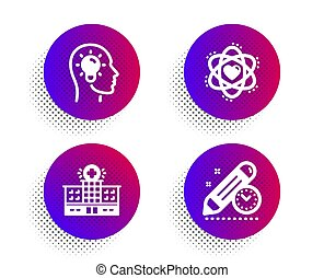 Atom, Idea head and Hospital building icons set. Project deadline sign. Electron, Lightbulb, Medical help. Vector
