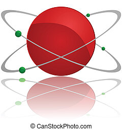 Atom - Glossy illustration showing an atom with a red core...