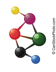 Atom model - Coloured atom model on the white background