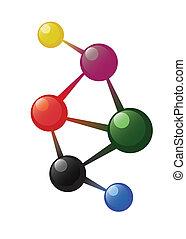 Coloured atom model on the white background