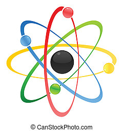 Model of atom with a kernel. A vector illustration