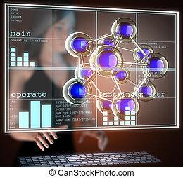 Atom model on hologram