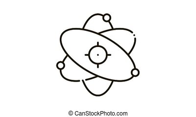 atom molecule Icon Animation. black atom molecule animated icon on white background