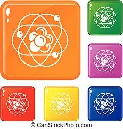 Atom molecule icons set vector color