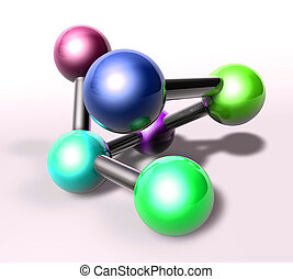 Atom molecule illustration - Molecule model molecular atomic...