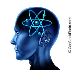 Atom molecule science symbol brain scientific mind thinker as a blue human head on an isolated white background.