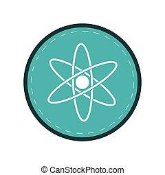 atom molecule structure model blue circle