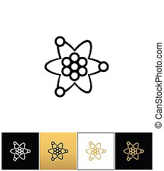 Atom or nuclear core structure vector icon. Atom or nuclear...