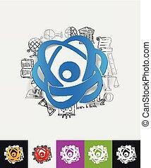 atom paper sticker with hand drawn elements