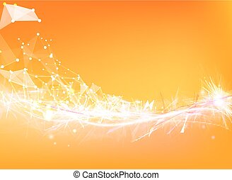 Atom particles over orange background with shining sparks. Vector illustration.
