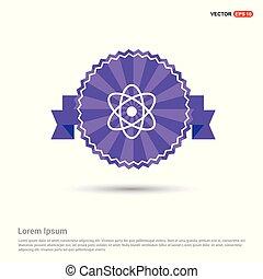 Atom sign icon - Purple Ribbon banner