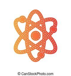 Atom sign illustration. Orange applique isolated.