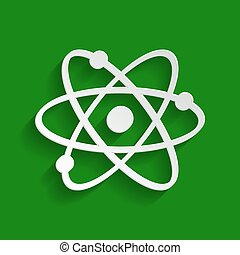 Atom sign illustration. Vector. Paper whitish icon with soft shadow on green background.