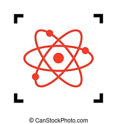 Atom sign illustration. Vector. Red icon inside black focus corners on white background. Isolated.