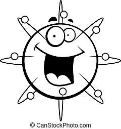 Atom Smiling - A cartoon blue atom smiling and happy.
