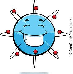 Atom Smiling - A cartoon blue atom happy and smiling.