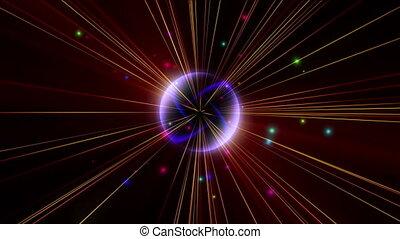 atom star light ray pulse in space 4k