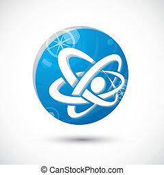 Atom  symbol, abstract icon, 3d vector symbol