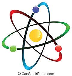 Atom symbol - Orbital model of atom isolated on white ...