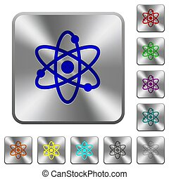 Atom symbol rounded square steel buttons