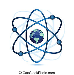 atom symbol with a globe in the middle