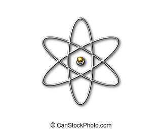 atom symbol with gold core