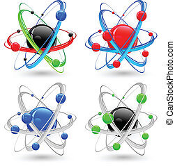 Atom variation color - Central nucleus surrounded by...