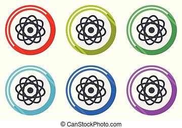 Atom vector icons, set of colorful flat design internet symbols on white background