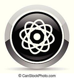Atom vector steel icon. Chrome border round web button....