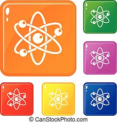 Atom with electrons icons set vector color