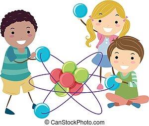 atom, zabawka, stickman, ilustracja, dzieciaki