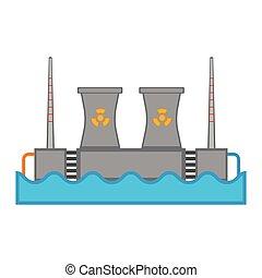 atomar, station, hydroelektrisk magt