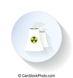 atomar, station, lejlighed, magt, ikon
