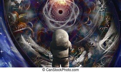 atome, avant, astronaute