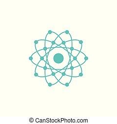 atome, conception, global, electrons., vecteur