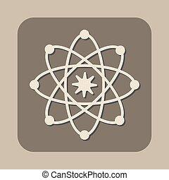 atome, modèle, vecteur, icône