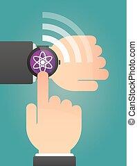 atome, montre, intelligent, pointage, main