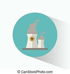 atomenergien, station, magt, tegn