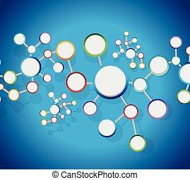 atomi, diagramma, collegamento, rete, collegamento