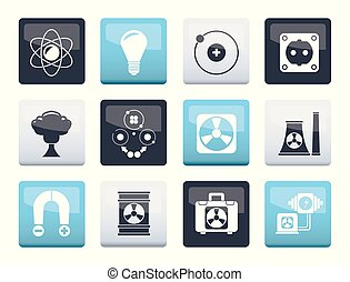 Atomic and Nuclear Energy Icons over color background