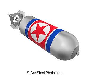 Atomic Bomb with North Korea Flag