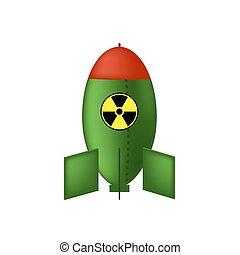 Atomic Bomb with Radiation Sign. Nuclear Rocket.
