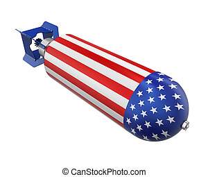 Atomic Bomb with United States Flag isolated on white...